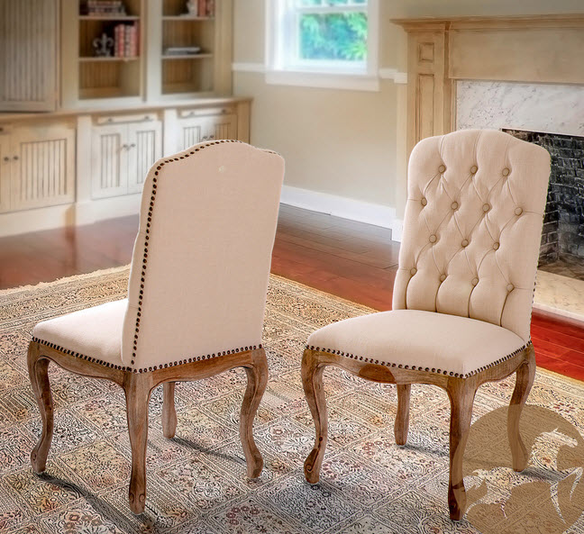 Tufted Dining Chairs With Nailheads | Show Home Design